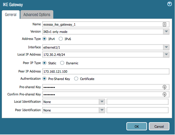 Create a VPN to a Palo Alto Networks Firewall – Ecessa Support